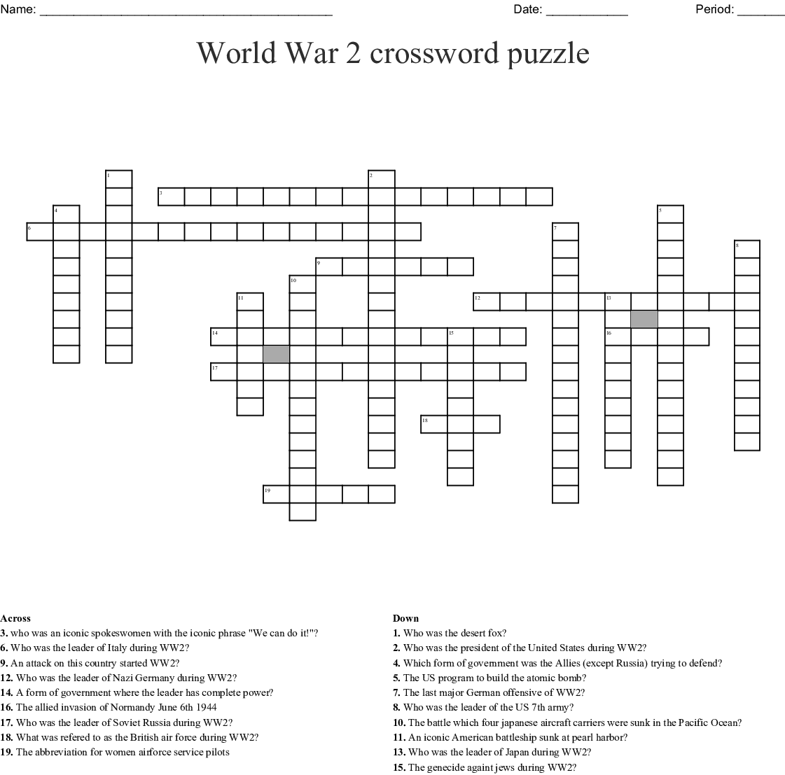 World War 2 Crossword Puzzle