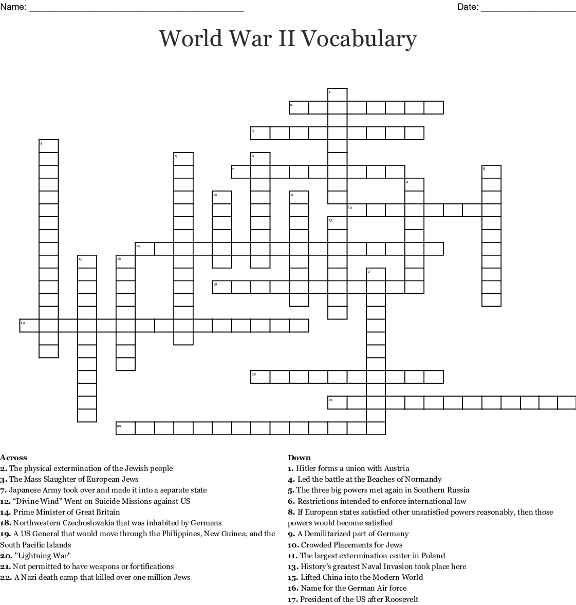 World War Ii Vocabulary Crossword