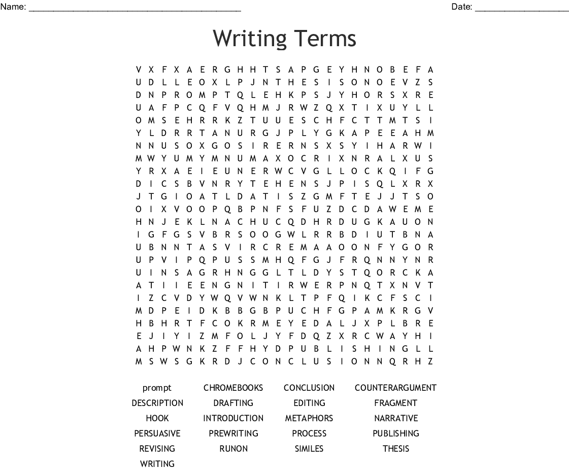 Writing Terms Word Search