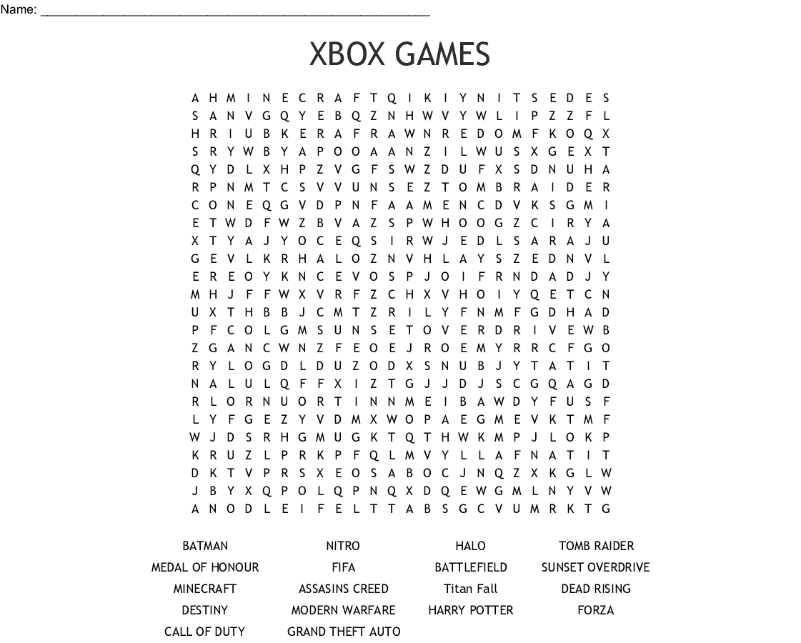 Xbox Games Word Search