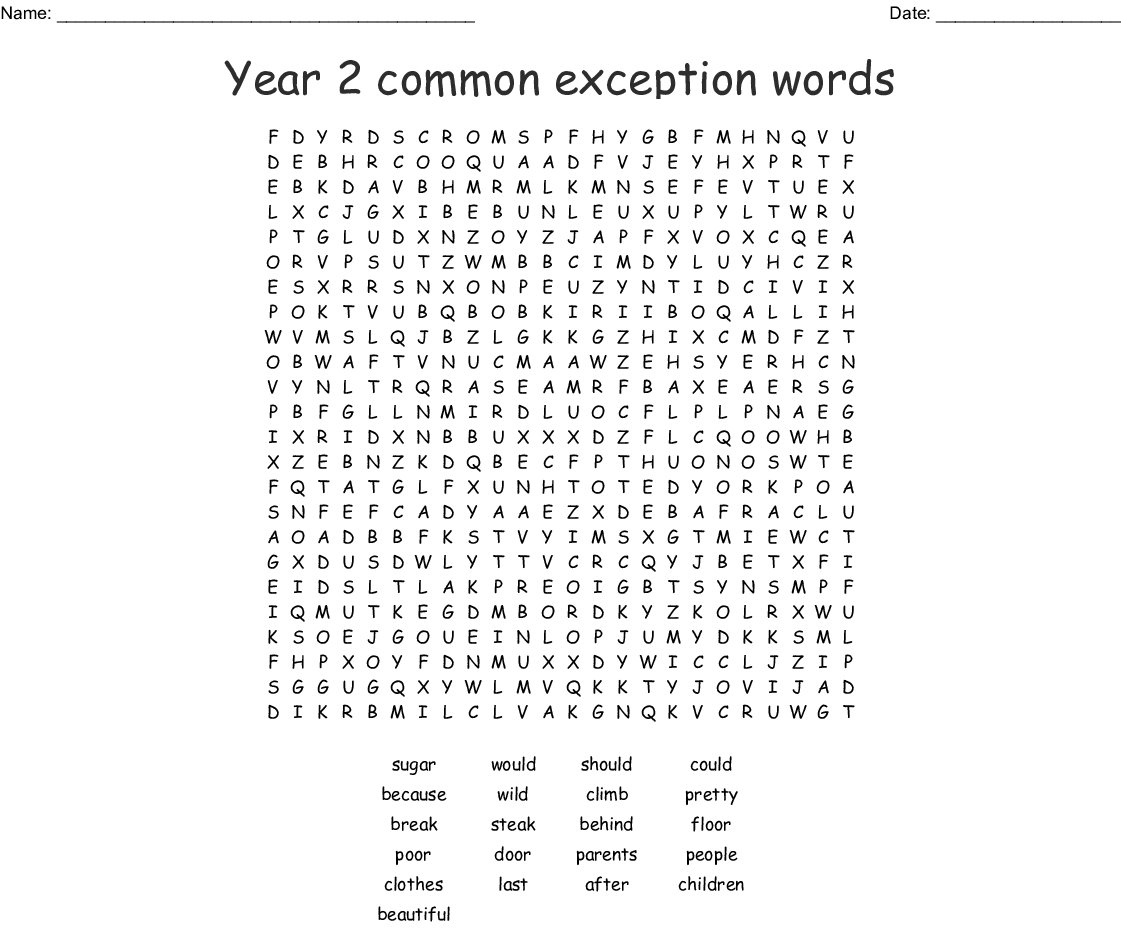 Common Exception Words Year 2 Word Search