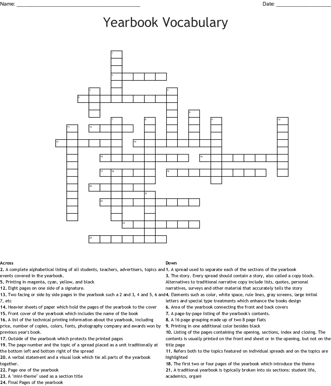 Yearbook Vocabulary Word Search