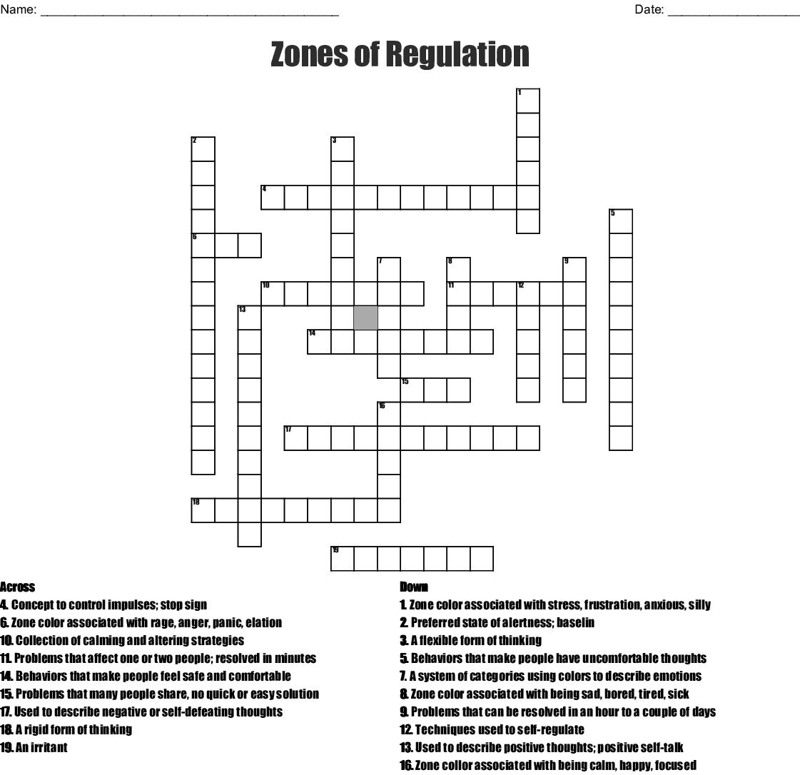 Worksheet Zones Of Regulation