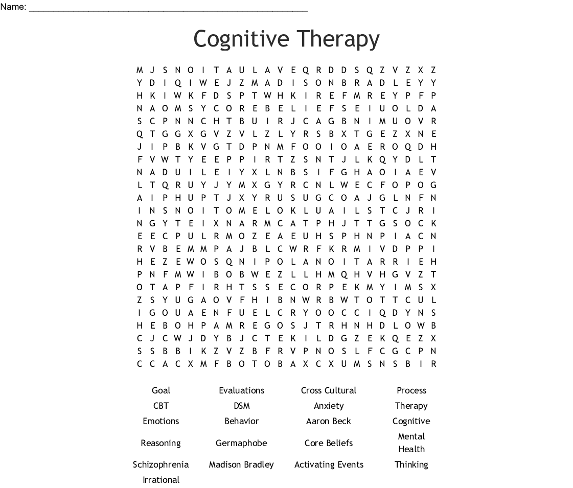 Cognitive Therapy Word Search