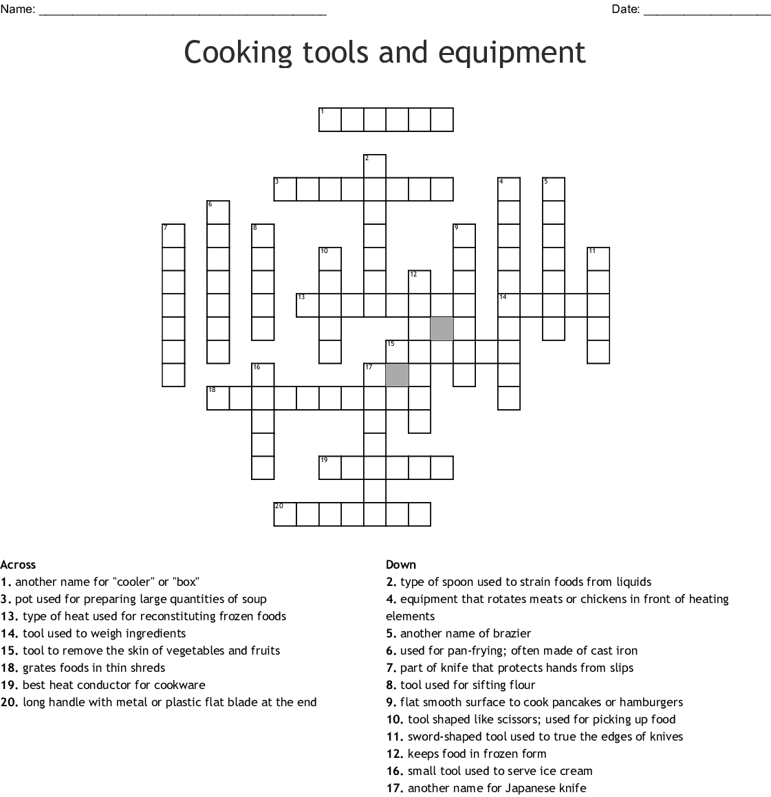 Kitchen Utensils Crossword Activity 1 Answers