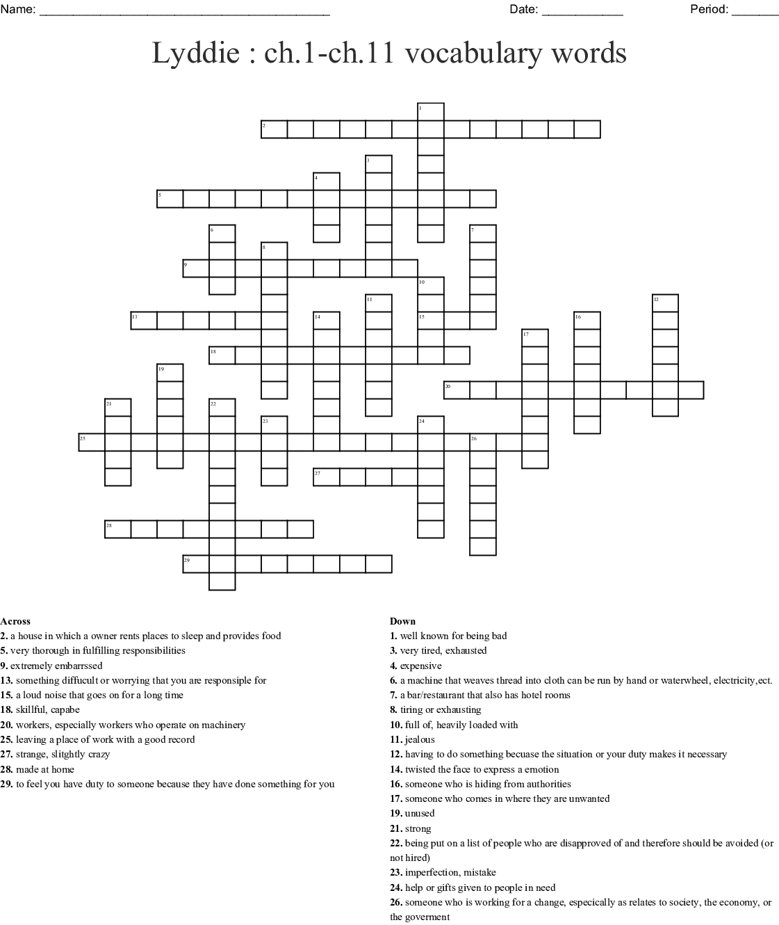 The Giver Vocabulary Crossword