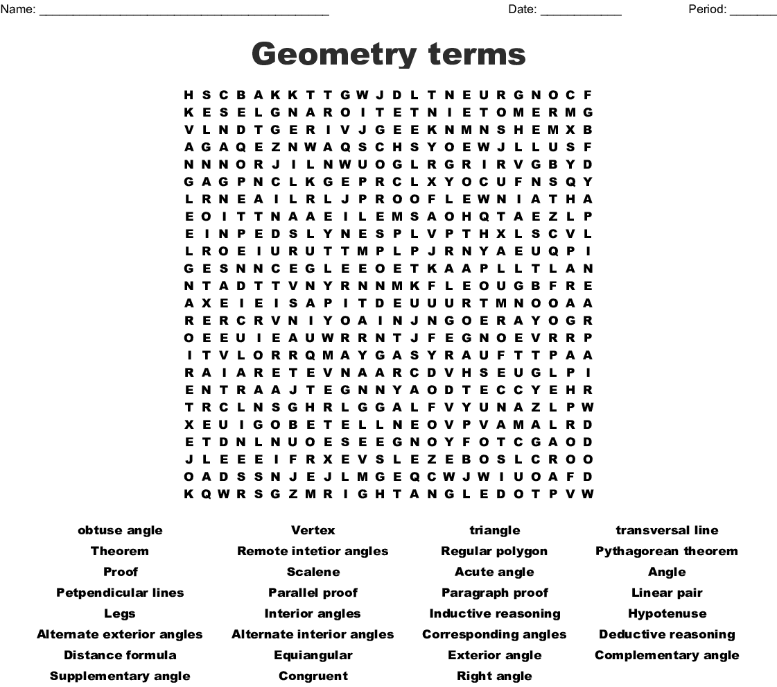 Geometry Terms Word Search
