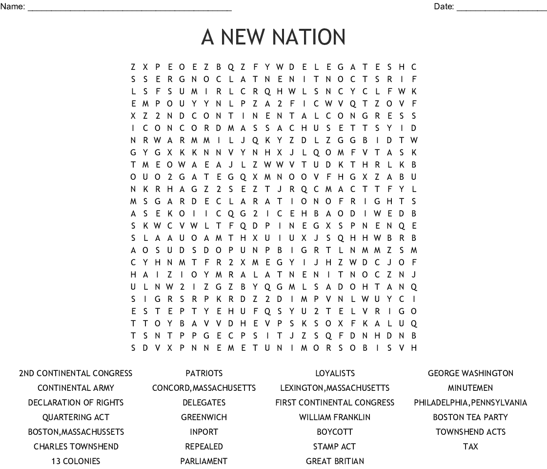 A New Nation Word Search