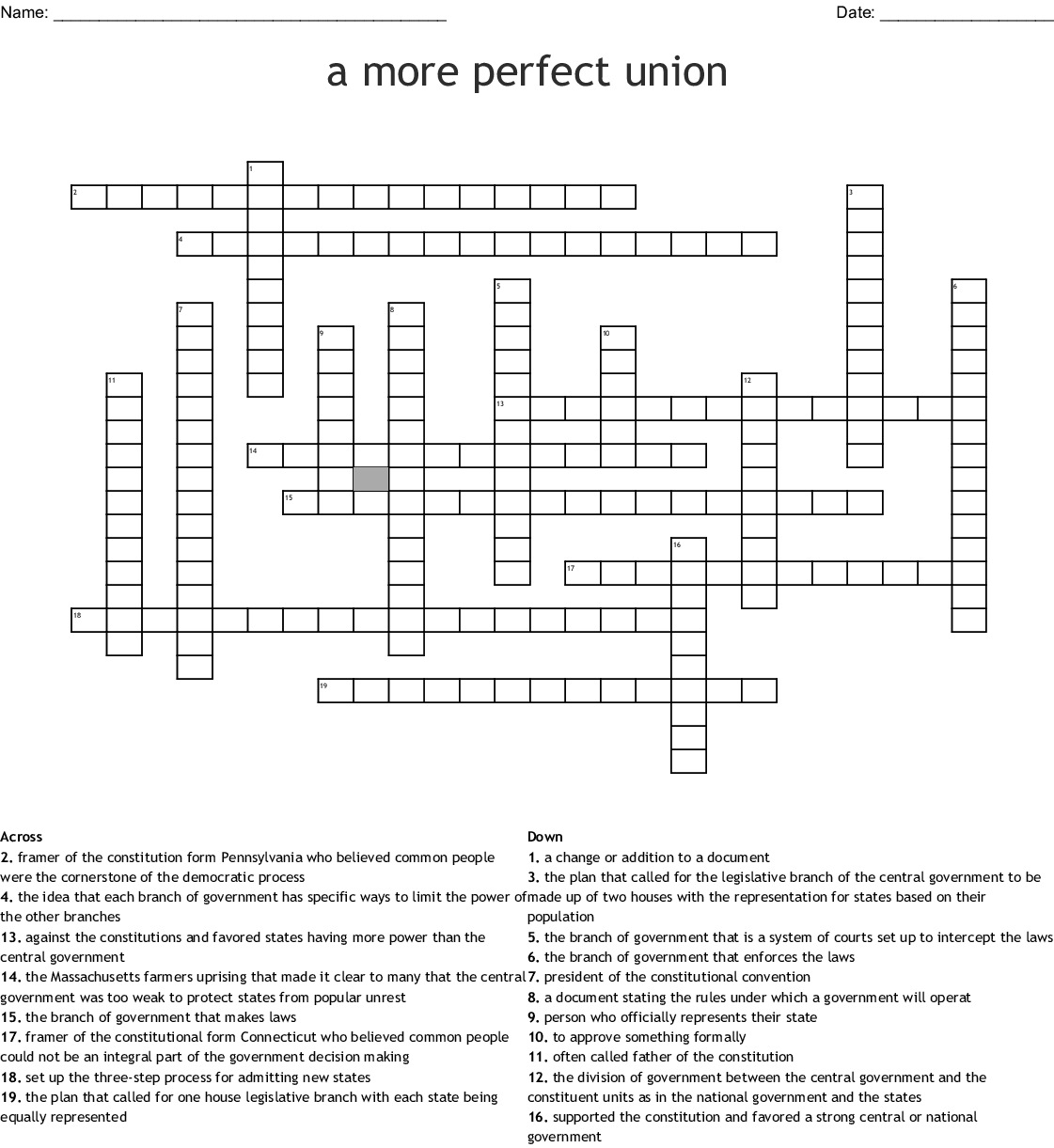 A More Perfect Union Worksheet Answers