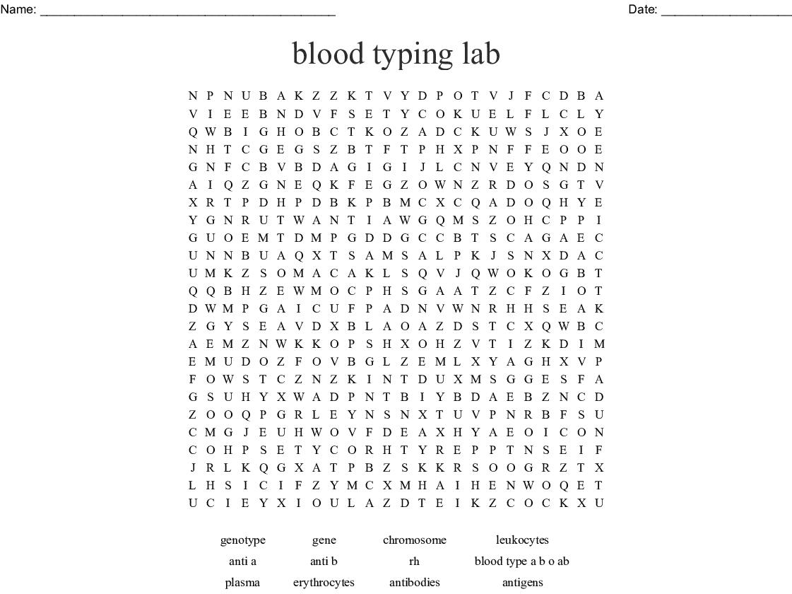 Blood Typing Crossword