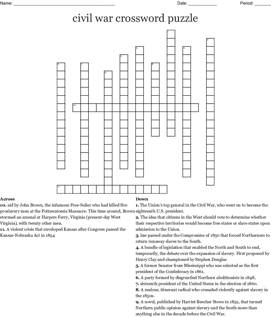 Civil War Crossword Puzzle Crossword