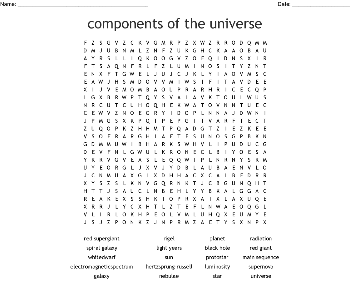 Components Of The Universe Word Search