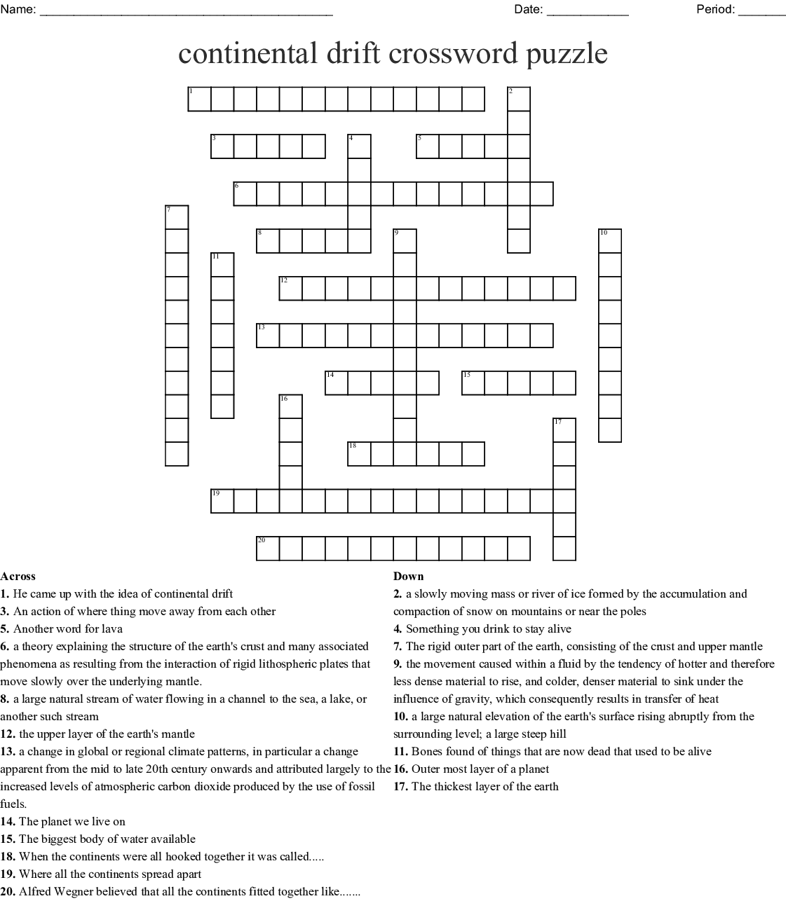 Continental Drift Crossword Puzzle