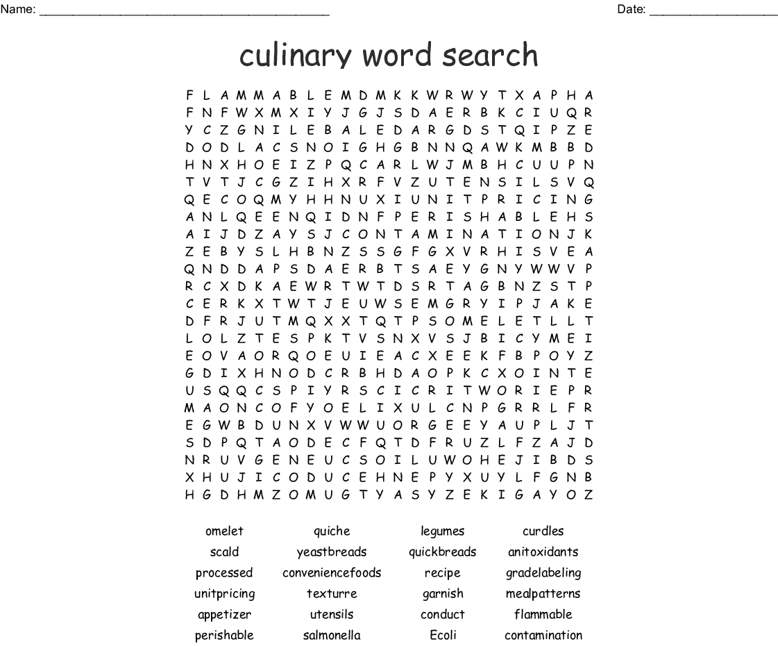 Food Amp Culinary Terms Wordsearch