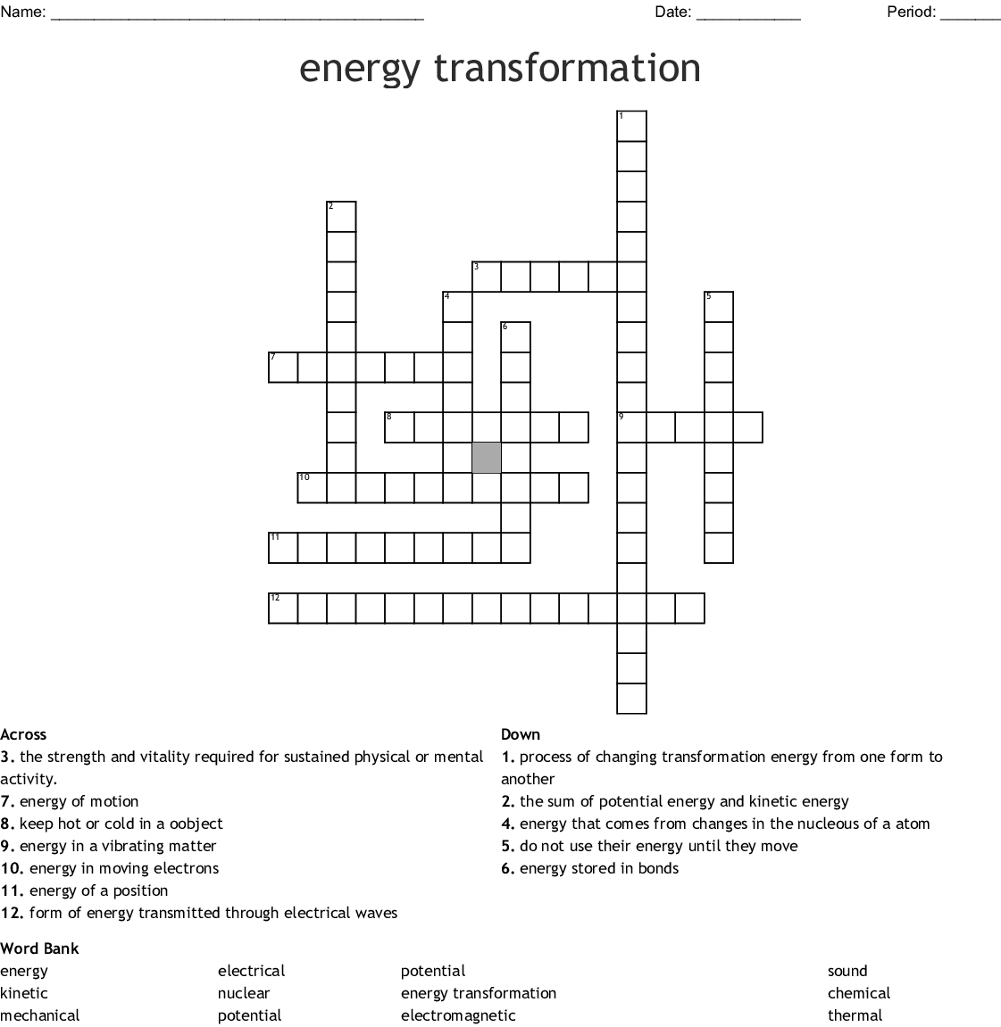 Energy Transformation Crossword