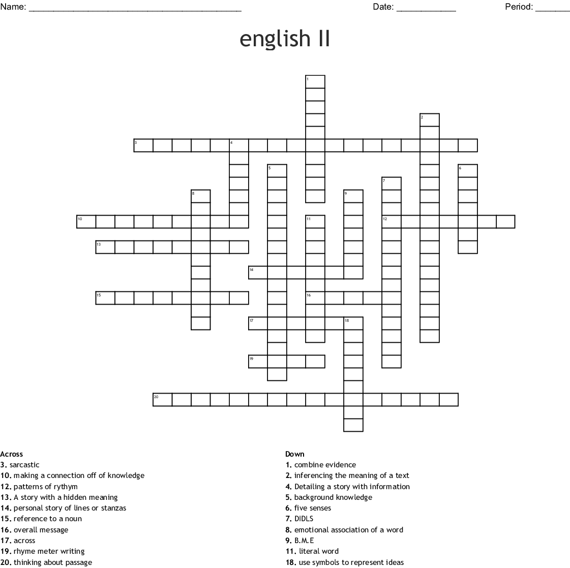 English 2 Crossword Puzzle