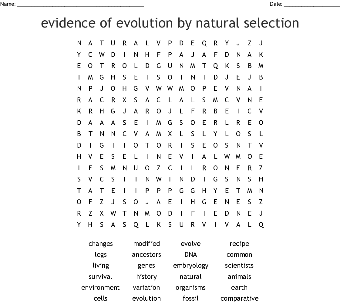 Evidence Of Evolution By Natural Selection Word Search