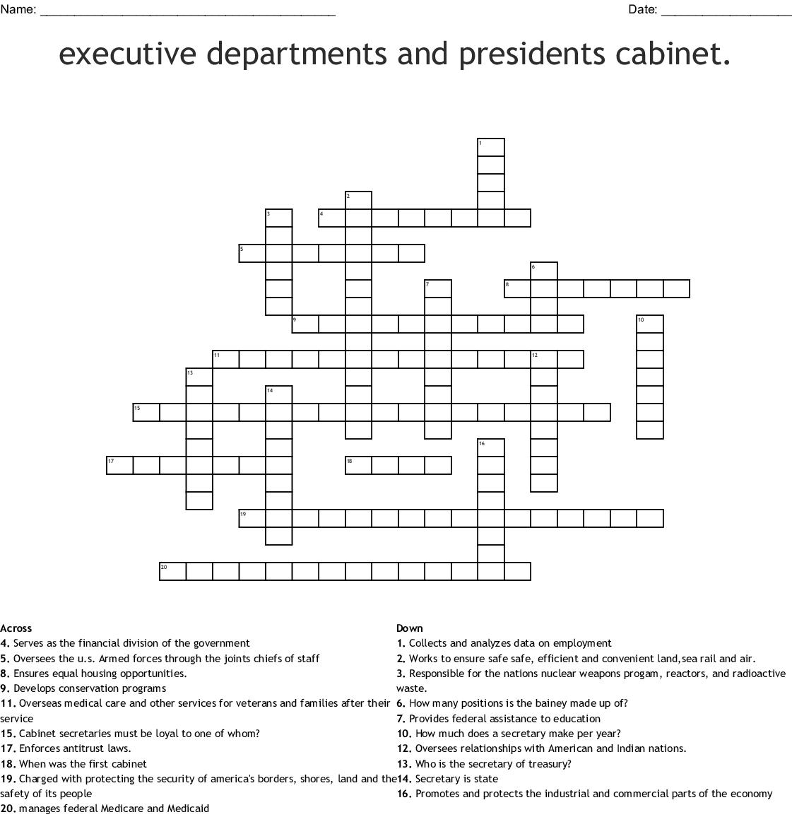 Worksheet On Cabinet Departments Quizlet