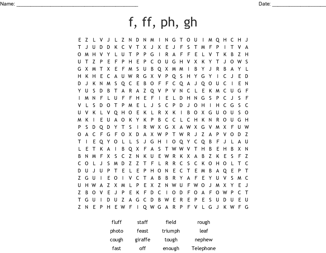 F Ff Ph Gh Words Word Search