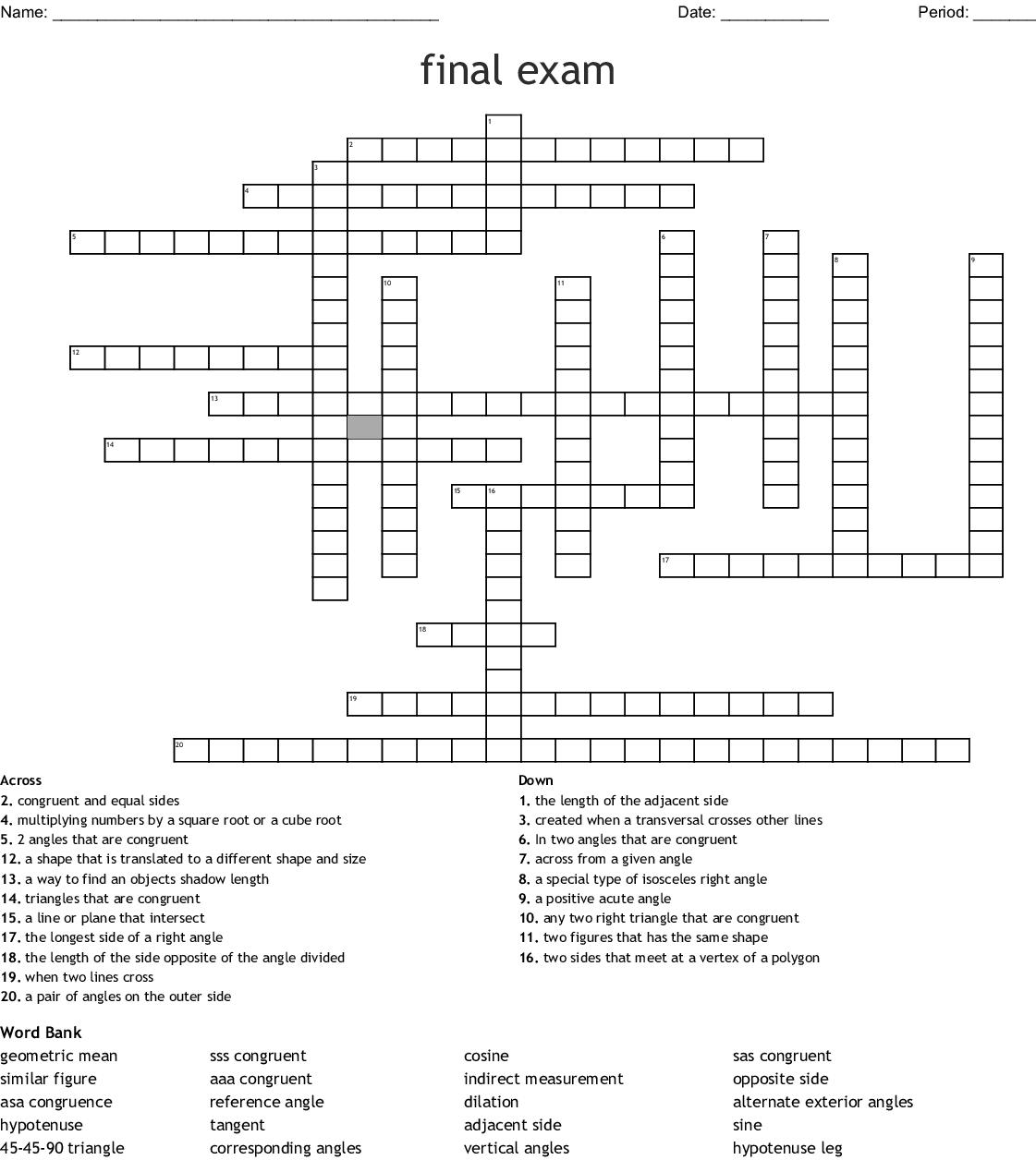 Final Exam Crossword