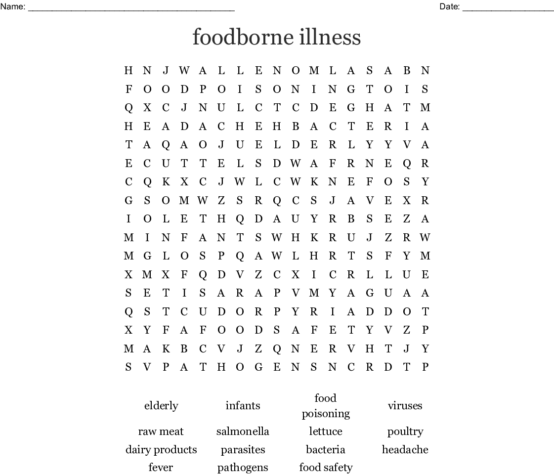 Foodborne Illness Word Search