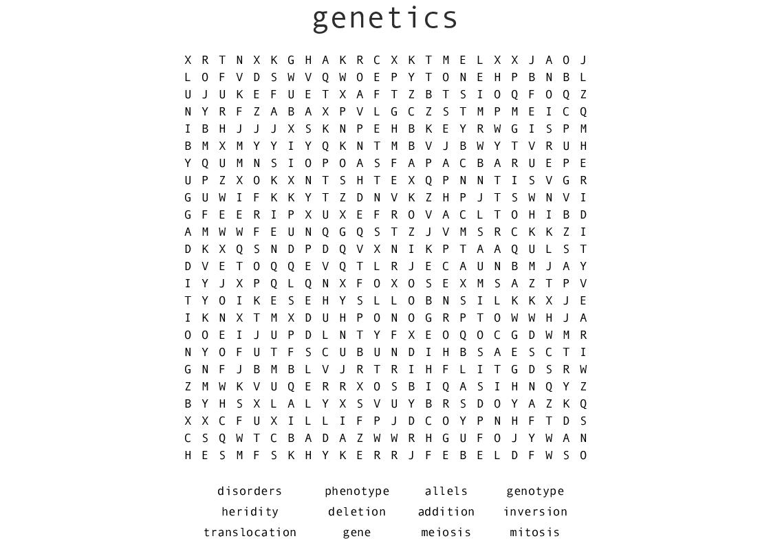 Genetics Word Search