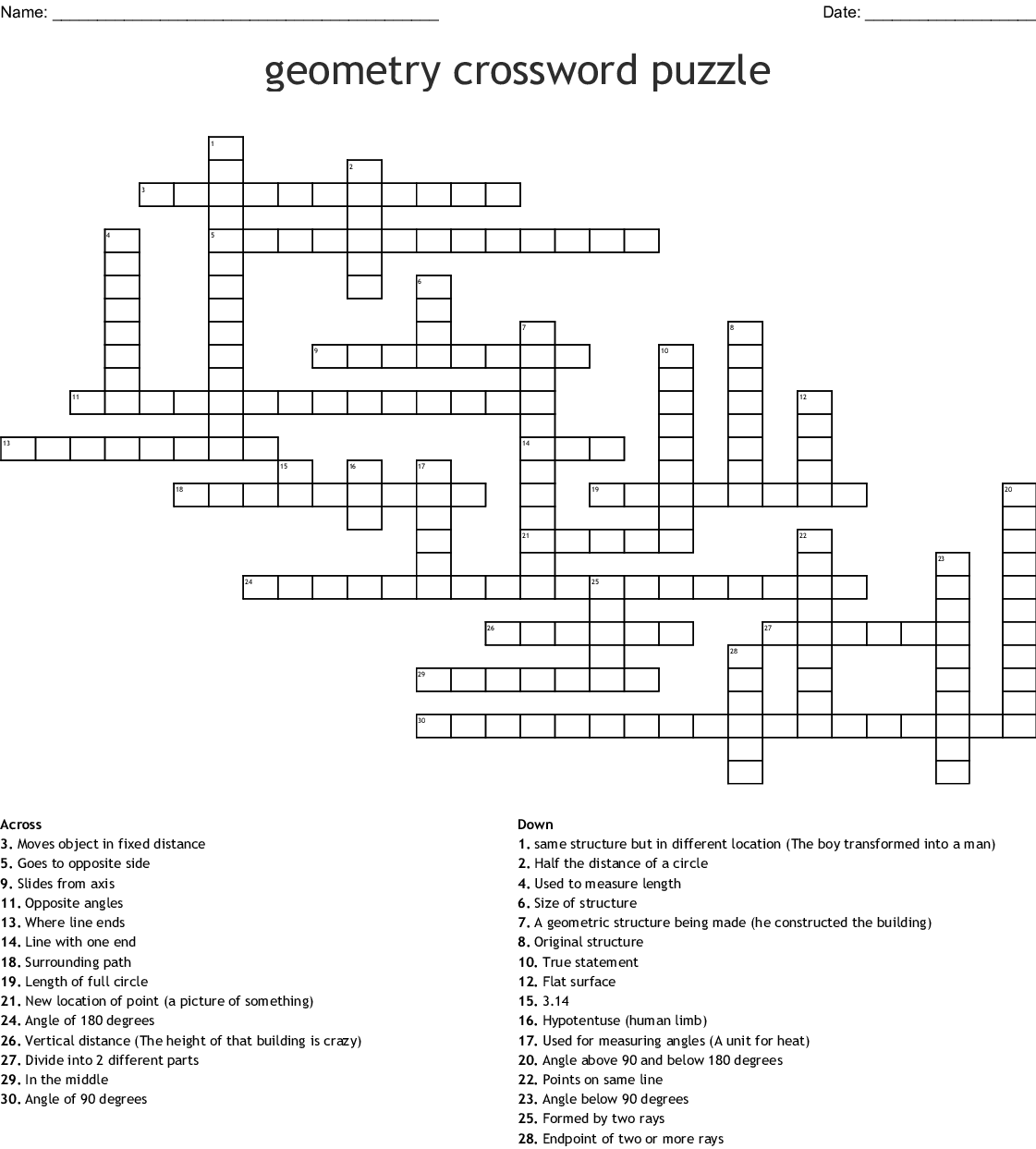 Geometry Crossword Puzzle