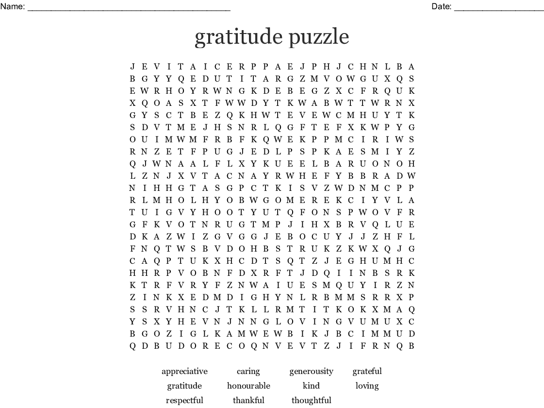 Gratitude In Recovery Worksheet