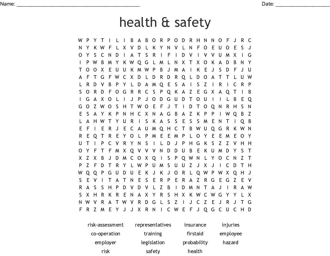 Health Amp Safety Word Search
