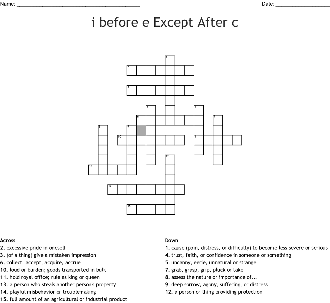 I Before E Except After C Crossword