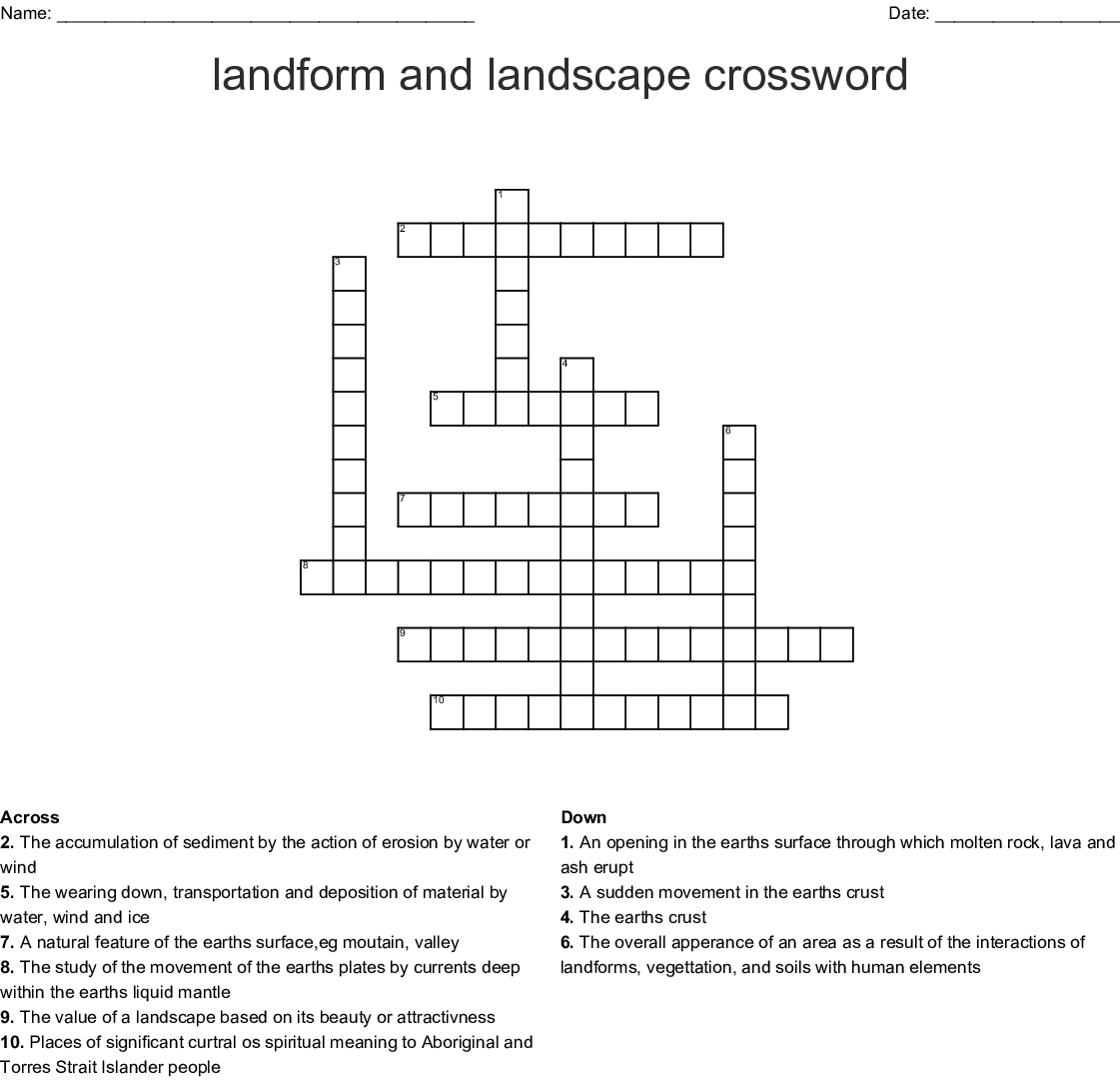 Landform And Landscape Crossword