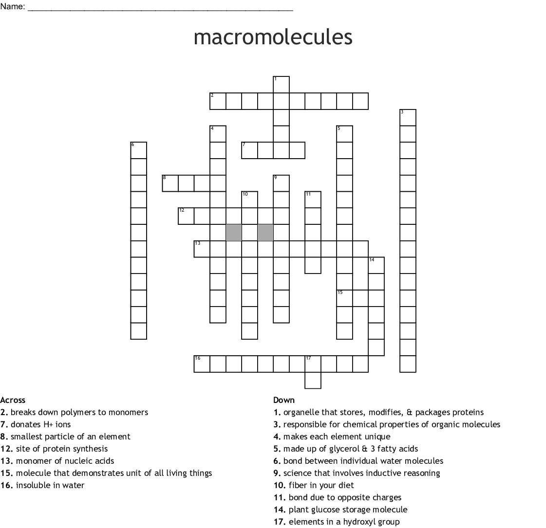 Biochemistry Crossword