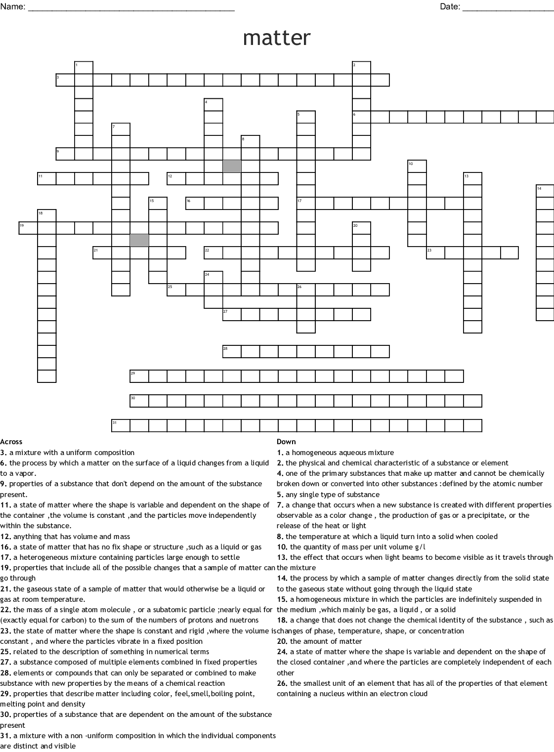 Matter And Change Chapter 2 Crossword