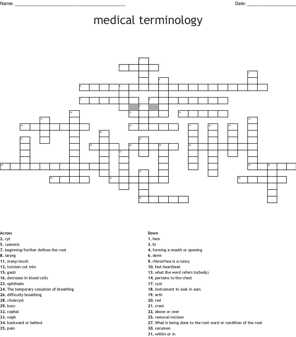 Medical Terminology Prefix Root Suffix Crossword