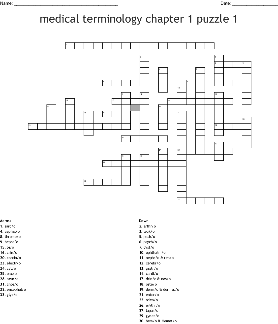 Medical Terminology Chapter 1 Puzzle 1 Crossword