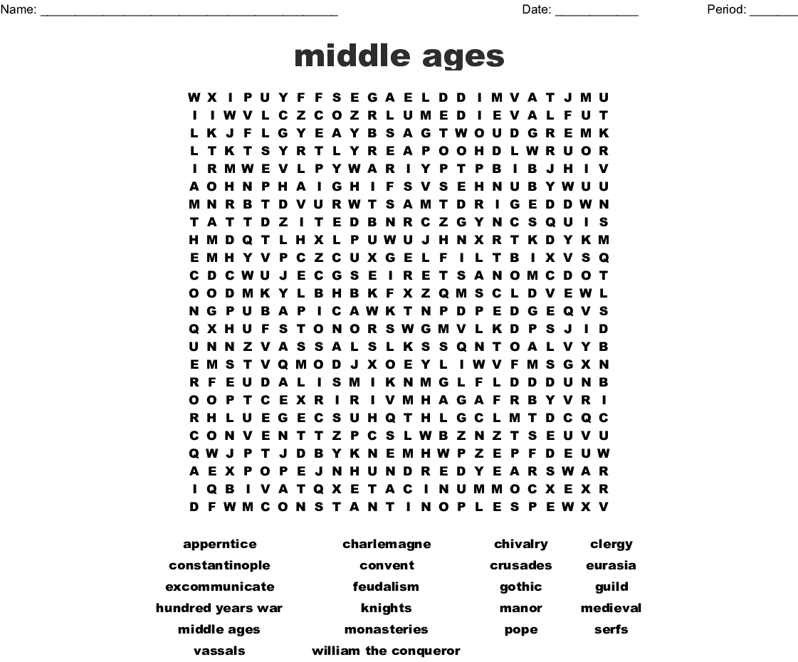 Middle Ages Word Search