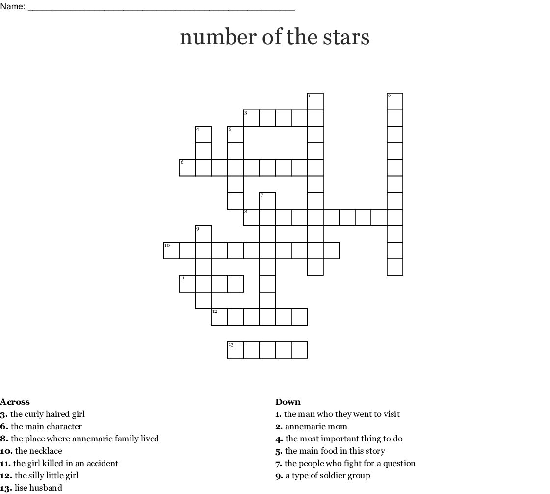 Number Of The Stars Crossword