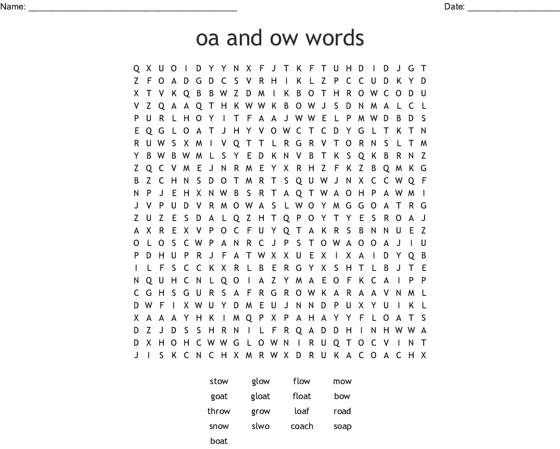 Oa And Ow Words Word Search