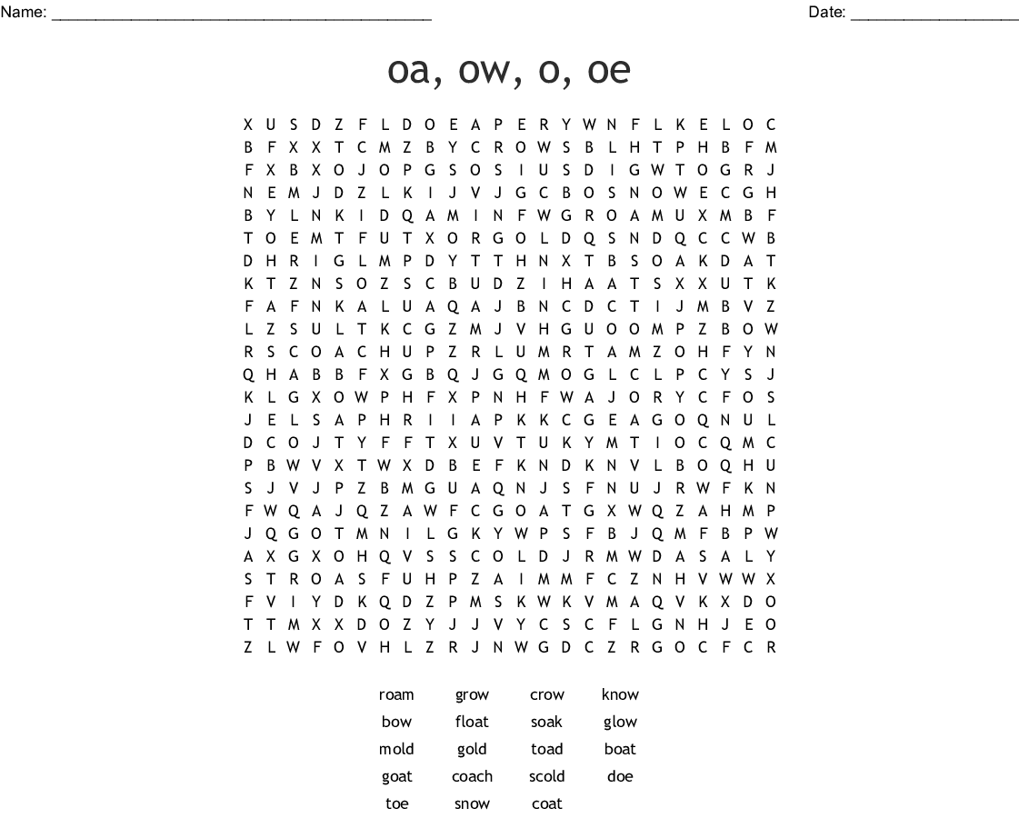 Oa Ow Oe And O O E Words Word Search