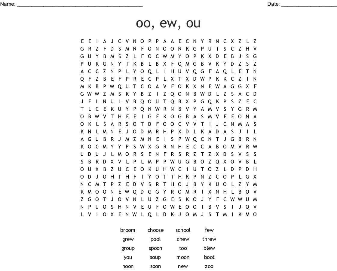 Oo Ew Ue U E U List Words Word Search