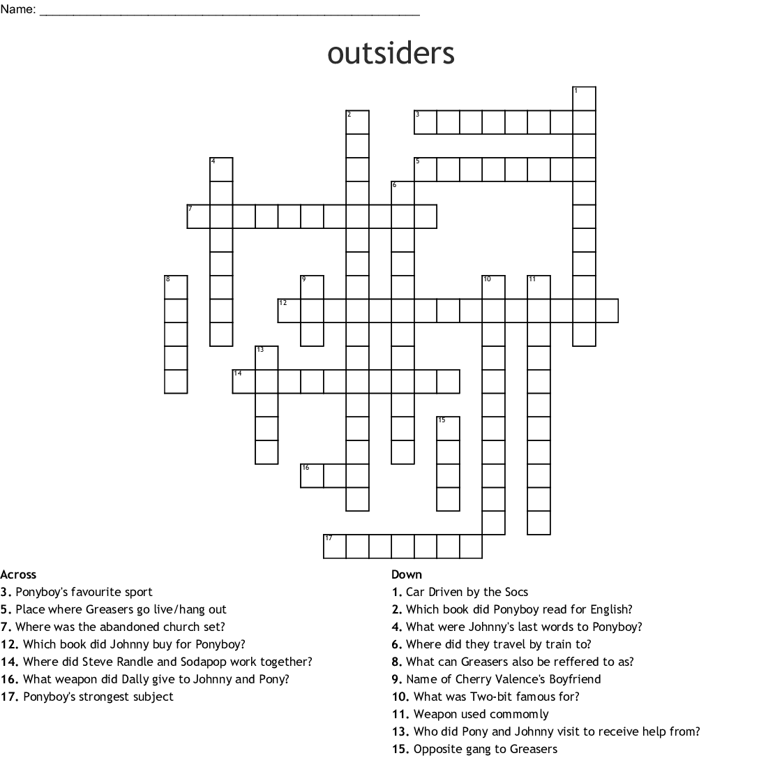 Outsiders Crossword Puzzle