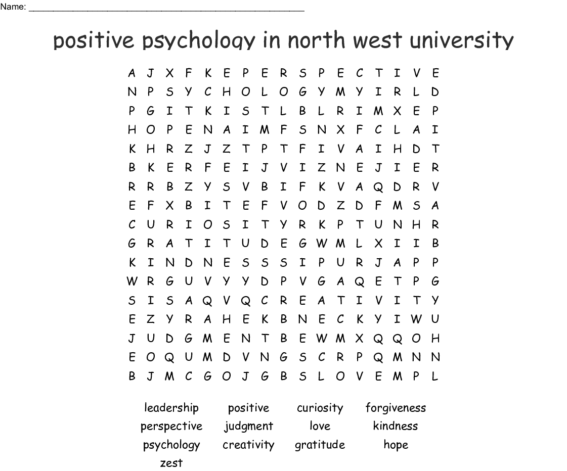 Character Strengths Word Search