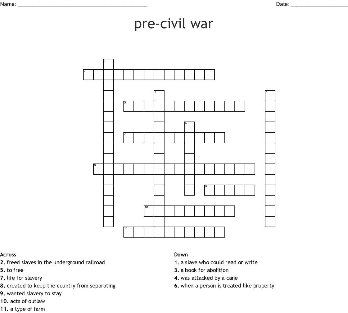 Pre Civil War Crossword