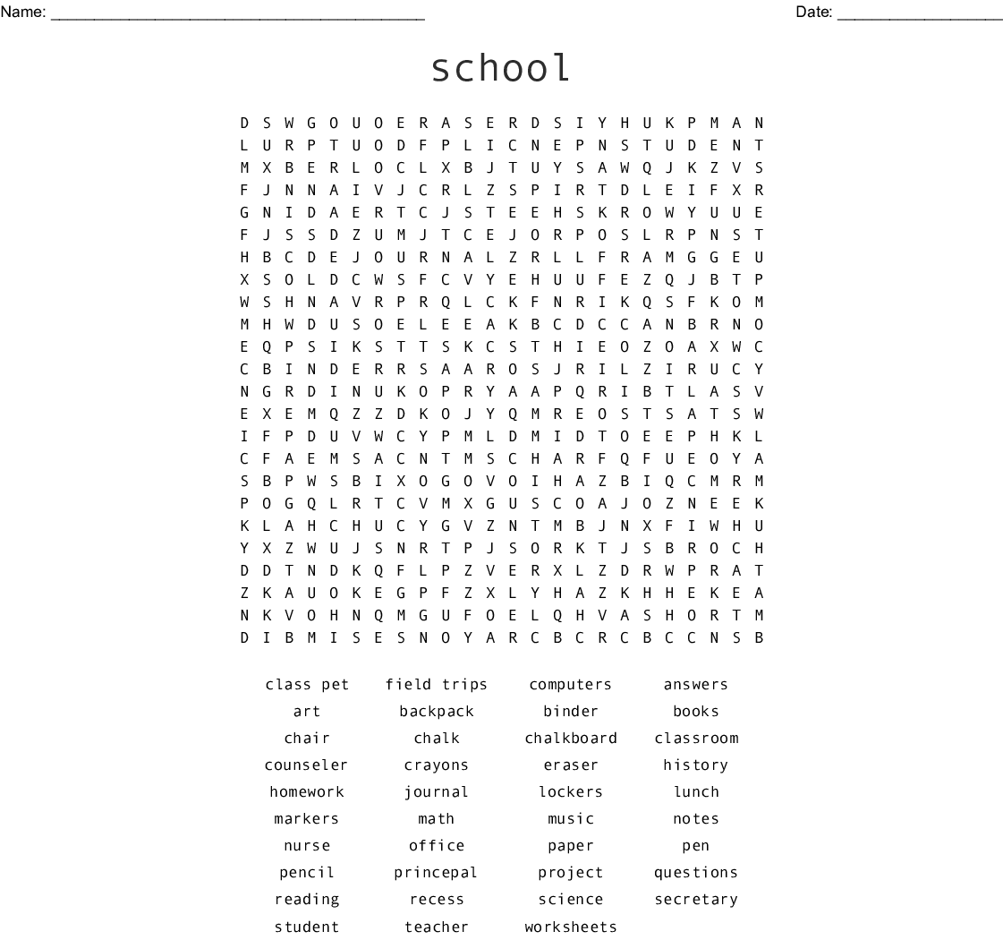 School Related Words Word Search