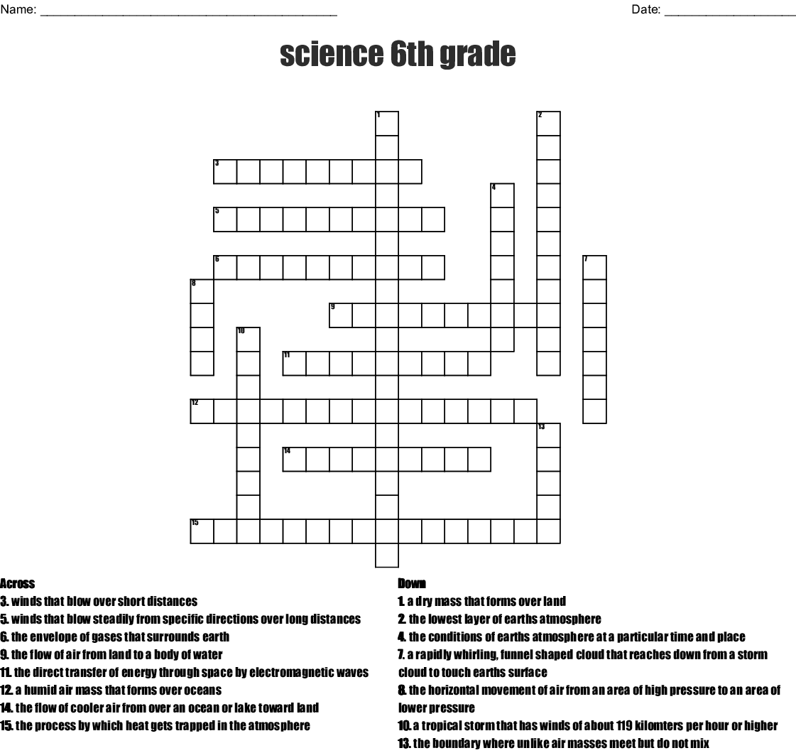 6th Grade Science Crossword Puzzles