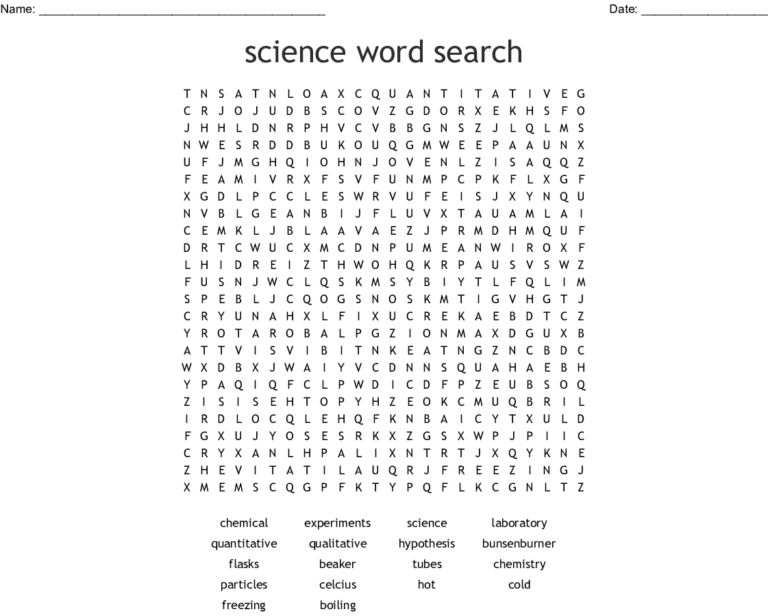 Science Word Search