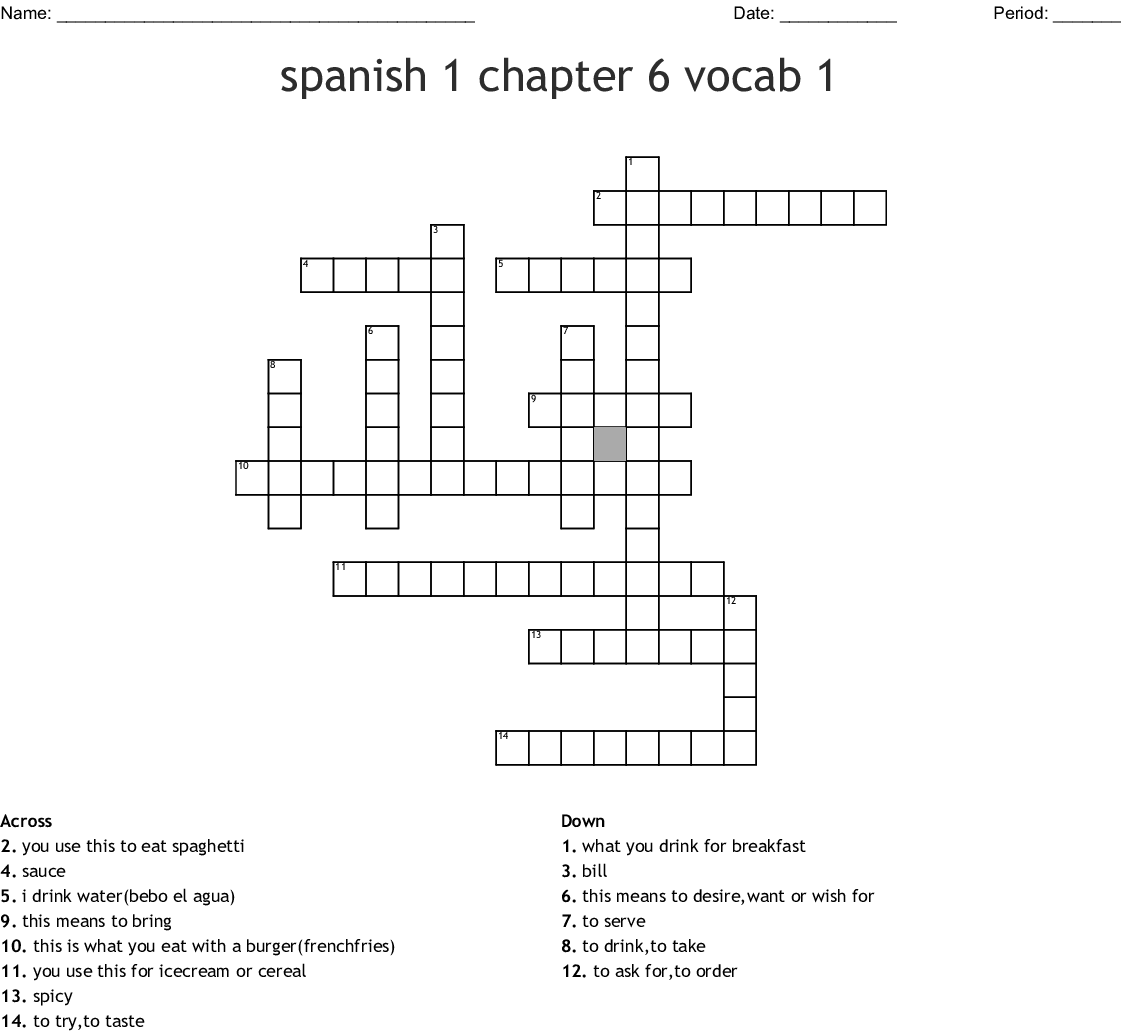 5b Spanish Vocab Crossword