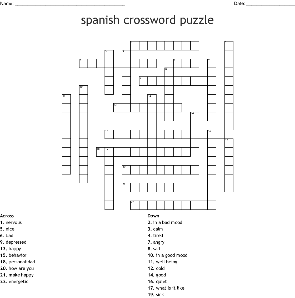Spanish Crossword Puzzle