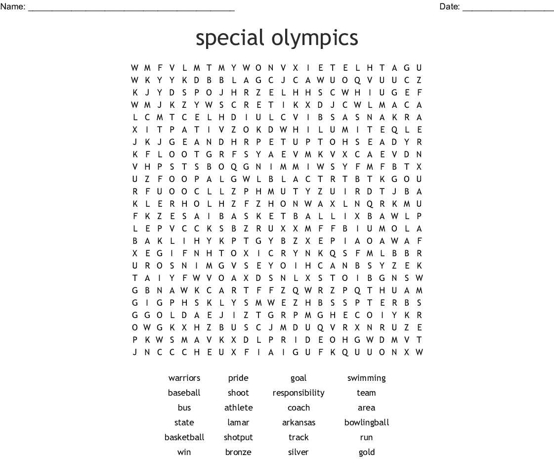 Special Olympics Word Search