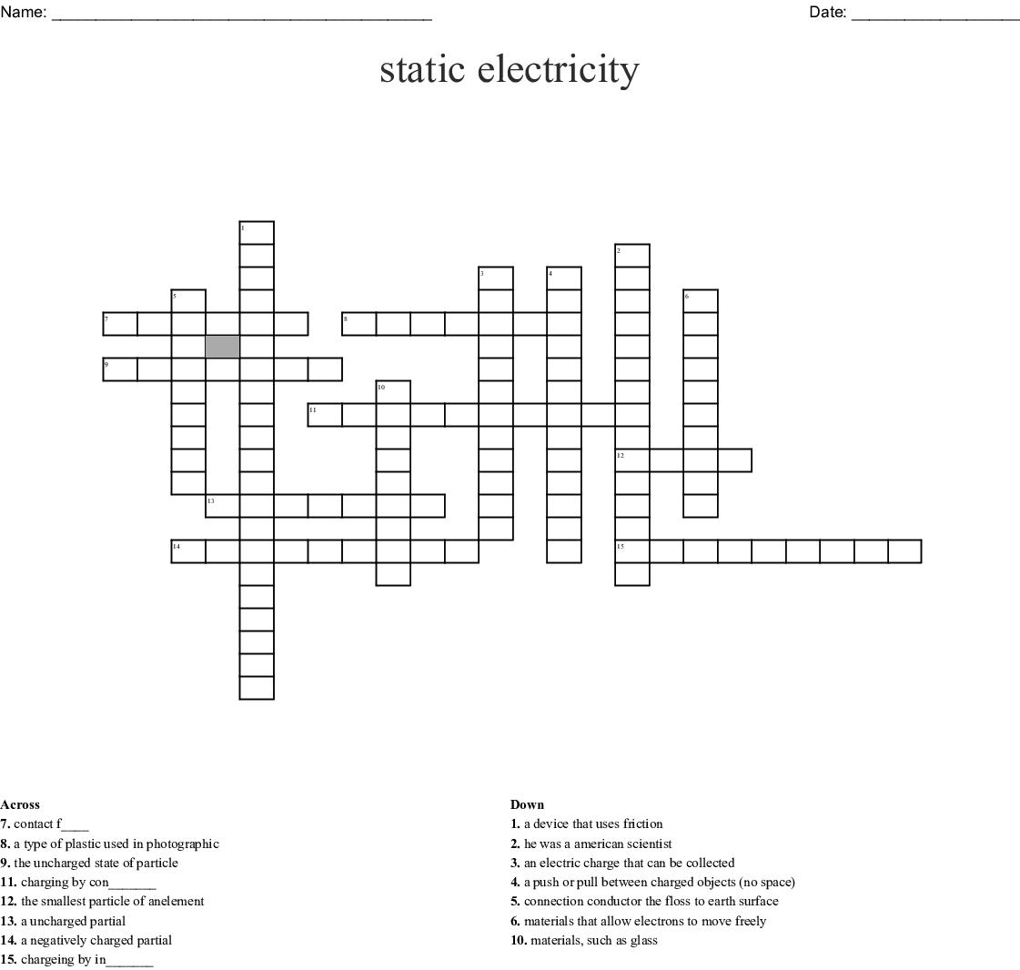 Static Electricity Crossword
